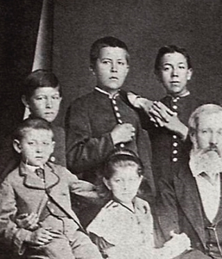 Anton (C) with siblings and his father, 1874