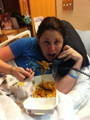On the phone while enjoying my carbs