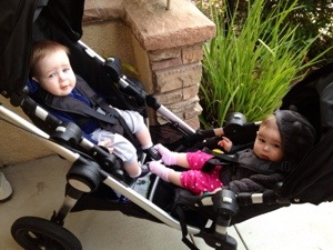 This stroller even lets the twins play footsie