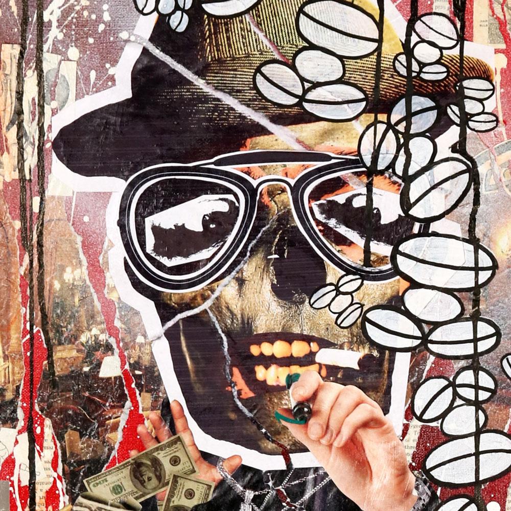 "5 Skullz No.1 - Mixed Media on Canvas, 24"" x 18"""