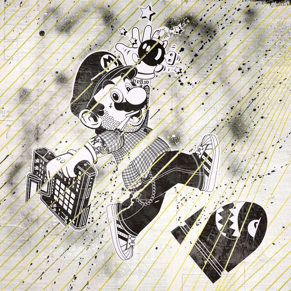 "Mario + Asterix - Mixed Media on Wood Panel, 32"" x 32"""