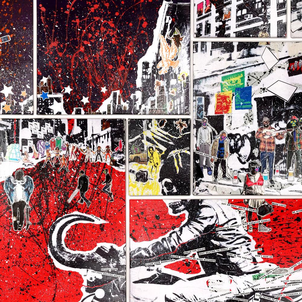 "Bohemian Paradise - Mixed Media on Canvas, 55"" x 90"""