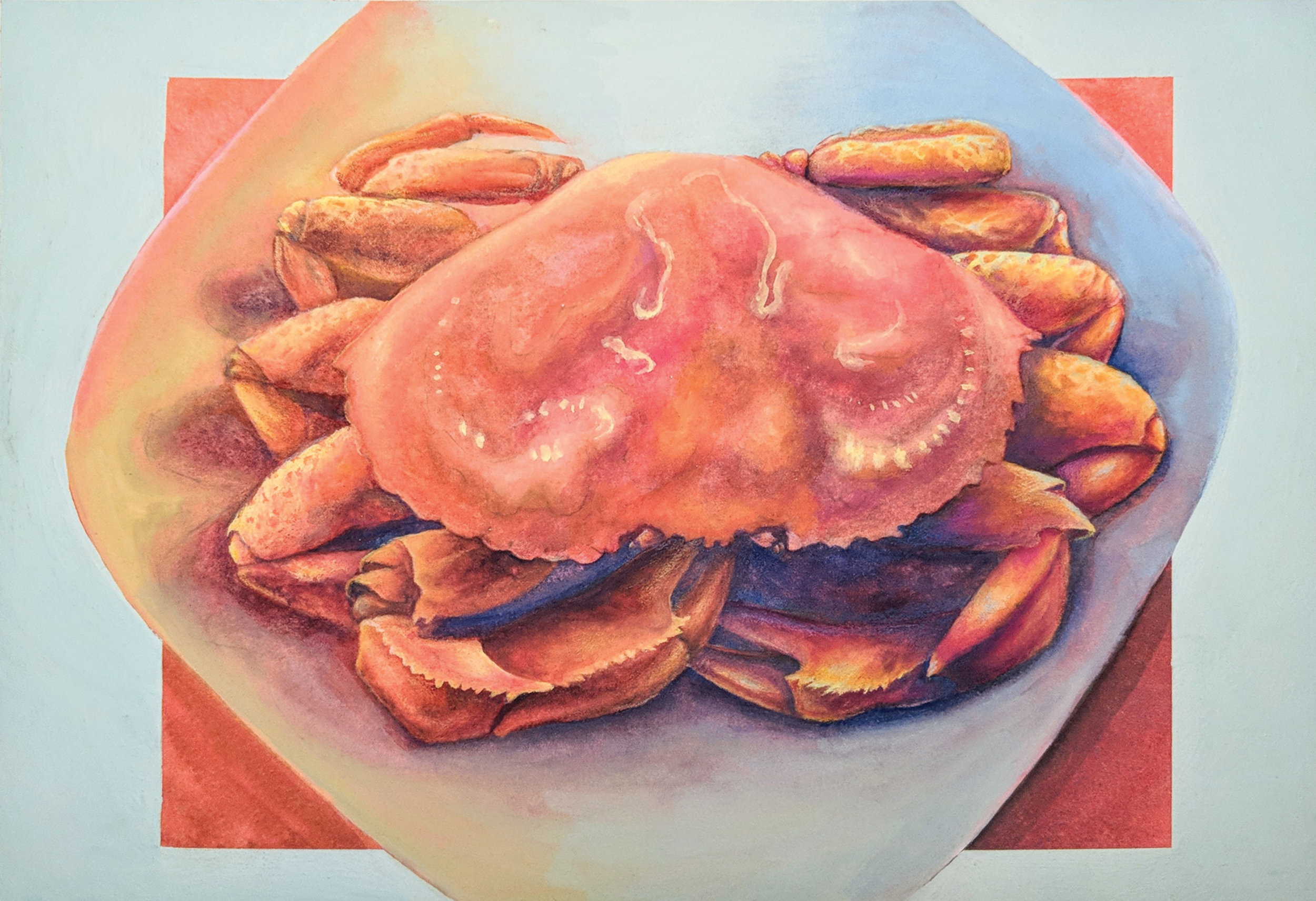 Crab 2018   Watercolor, gouache, and color pencil