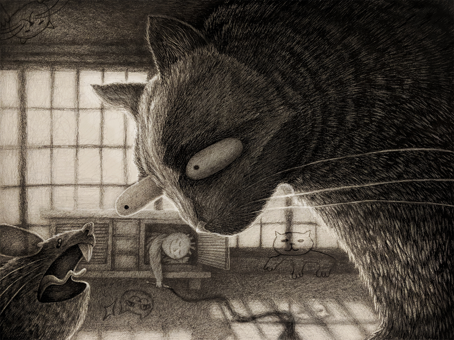 Boy Who Drew Cats - 2019   Graphite, Micron Pen, And Photoshop