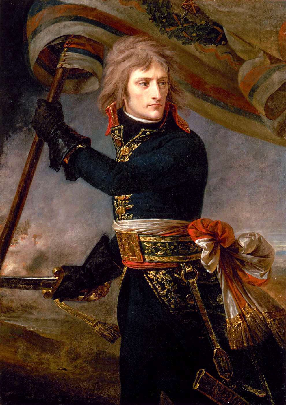 Napoleon at the Bridge of Arcole, by Antoine-Jean Gros, (ca. 1801), Louvre, Paris