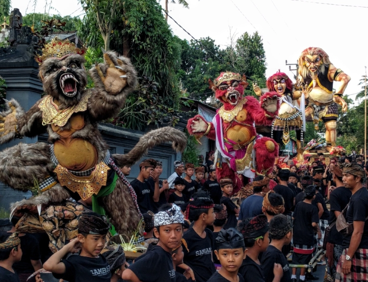 Demonic Ogoh-Ogoh statues offered to appease and cleanse the island of evil spirits.