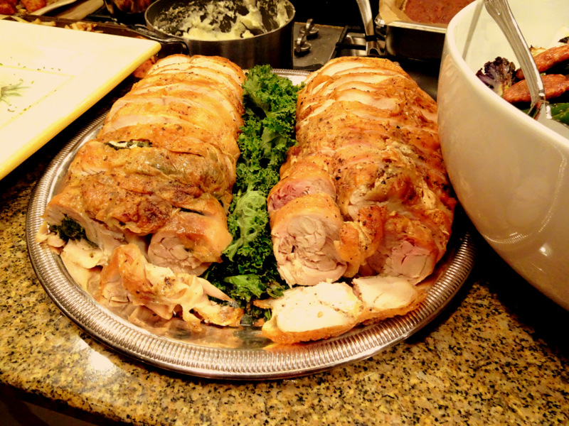 Chicken Galantine (One stuffed with Kale and Mushrooms, the other with Provolone and Gruyere