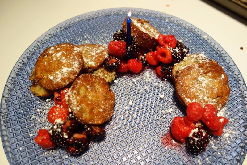 Dairy Free Chocolate Chip Banana Cakes, Lavender Sugar Berries