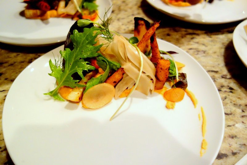 Red Chile Hummus, Mixed Greens, Pickled Fennel, Roasted Carrots and Turnips