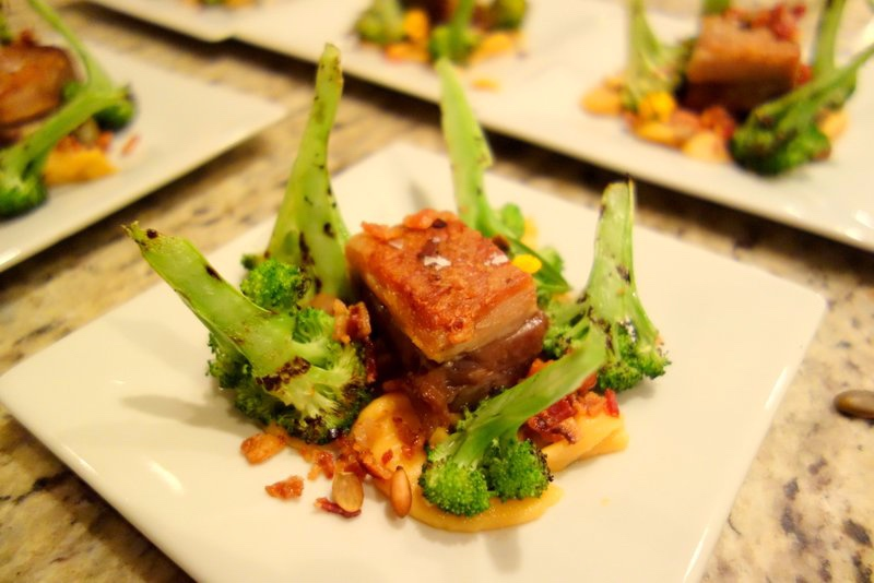 Pork Belly, Rutabega and Smoked Cheddar, Grilled Broccoli, Pepitas