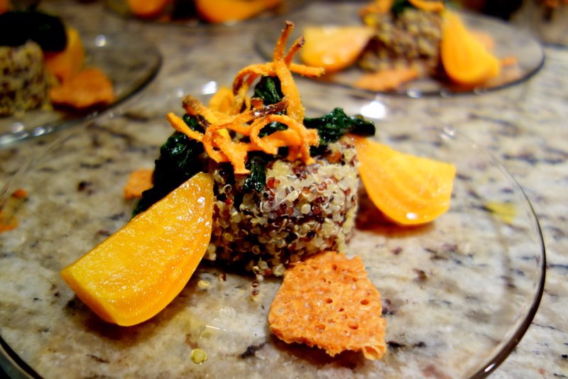 Lime-marinated Beets, Quinoa, Grilled Greens, Sweet Potato Sticks, Monterrey Jack chips
