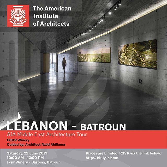 AIA Middle East Architecture Tour IXSIR Winery  Guided by: Architect Raëd Abillama  Saturday, 22 June 2019 10:00 AM - 12:00 PM Ixsir Winery, Basbina, Batroun  Places are limited. RSVP via the link below: http://bit.ly/aiame  AIA ME Lebanon invites you to an Architecture tour of Ixsir Winery, a multi-award winning project by Raëd Abillama Architects.  Named as one of the greenest buildings in the world by CNN, the project is a seamless integration of old and new. The heritage structure and the modern efficiency of the production process and forward thinking management structure of the brand is exhibited within the well thought out design of the architects, a design which does not impose on the natural beauty of the site.  #architecture #aia #aiamiddleeast #aiame #design #building #construction #green #lebanon #beirut
