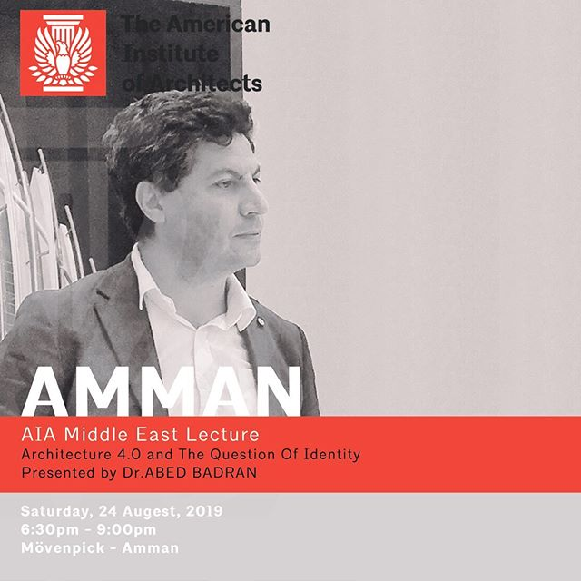 "AIA Middle East presents: Architecture 4.0 and the Question of Identity Presented by: Dr. Abed Badran Founder/ Director @Evolvextonic Lab/ @De-iDEA Labs/ @Octomus  Saturday, 24 August 2019 6:30 - 9:00pm Movenpick, Amman, Jordan  As technology and architecture have always been intrinsically linked, their operational relationships has been dramatically strengthened by the recent advent of computational design, digital fabrication and the tremendous impact of new systems; the Internet of Things (IoT); robotics, virtual reality (VR) and artificial intelligence (AI). Significantly, this has been affecting on the way we used to question their cultural relations today and historically, and on the way we used to conceive our humanity.  The aim of this lecture is to develop the concept of ""Architecture 4.0"" as a response to the fourth industrial revolution, examining the location of culture and the architecture future practice, passing through the shift in technology, tectonics, identity, contents, talentism, the power of algorithm and resistance.  #architecture #design #architect #iot #digital #ai #artificialintelligence #vr #virtualreality #aiame #aiamiddleeast"