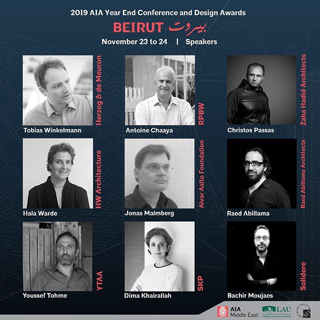 "2019 AIA Middle East Year End Conference & Design Awards Beirut - بيروت November 23 - 24  The American Institute of Architects, Middle East Chapter will host its seventh Year End Conference and Design Awards event in Beirut, Lebanon at the Lebanese American University LAU, Beirut Campus.  Presentations and site tours led by internationally renowned designers and thinkers will evolve around our conference's theme of ""Architecture and Context"". Register now with the link in our bio: www.aiamiddleeast.org/register  For questions, volunteering or sponsorship opportunities, please contact the AIA Middle East President, Dr. Chucri Haddad, AIA:  chucri.haddad@aiamiddleeast.org  #aiamiddleeast #aiame2019 #architect #architecture #beirut #lebanon #design"