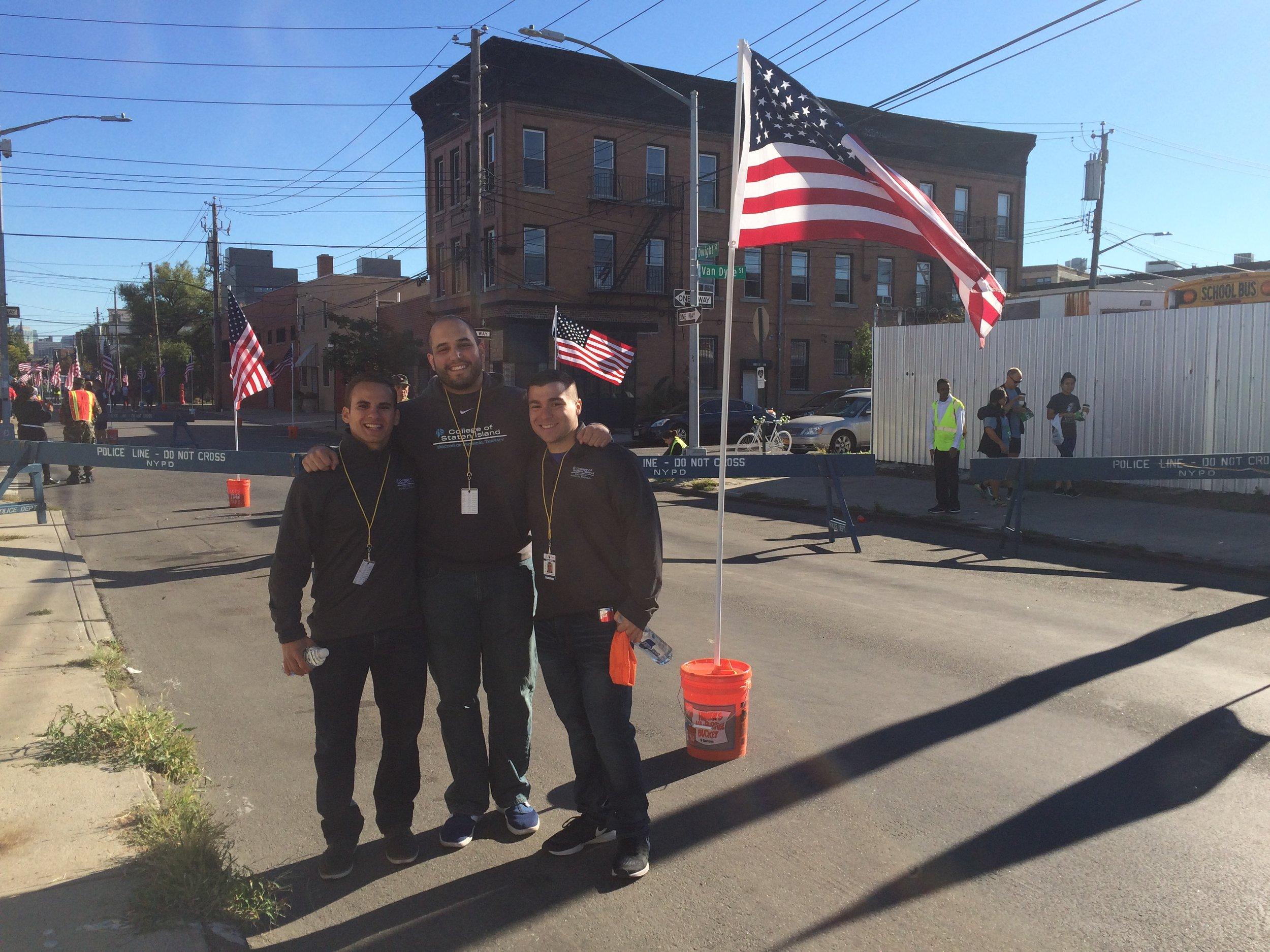 College of Staten Island students: Thomas Mandala, Munir Bouzid, and Joseph Guarini (left to right) at the race.
