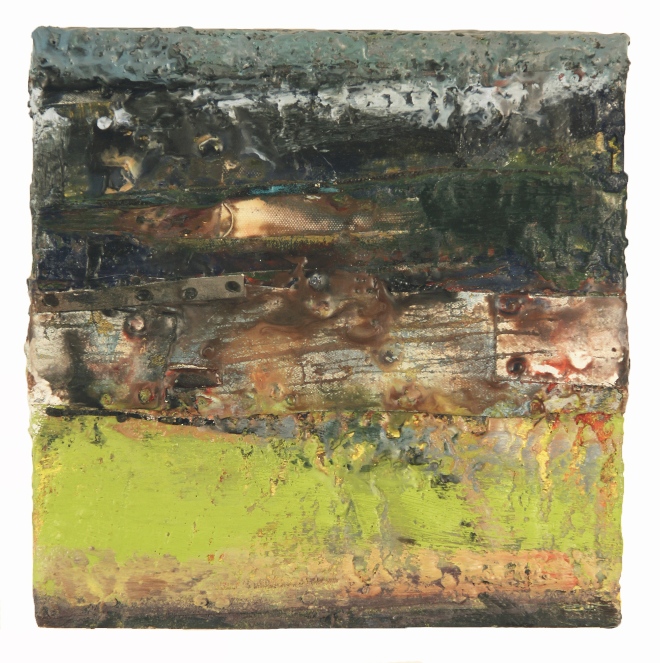 TEMPEST II, 2015  Encaustics and mixed media on panel  12 x 12 inches