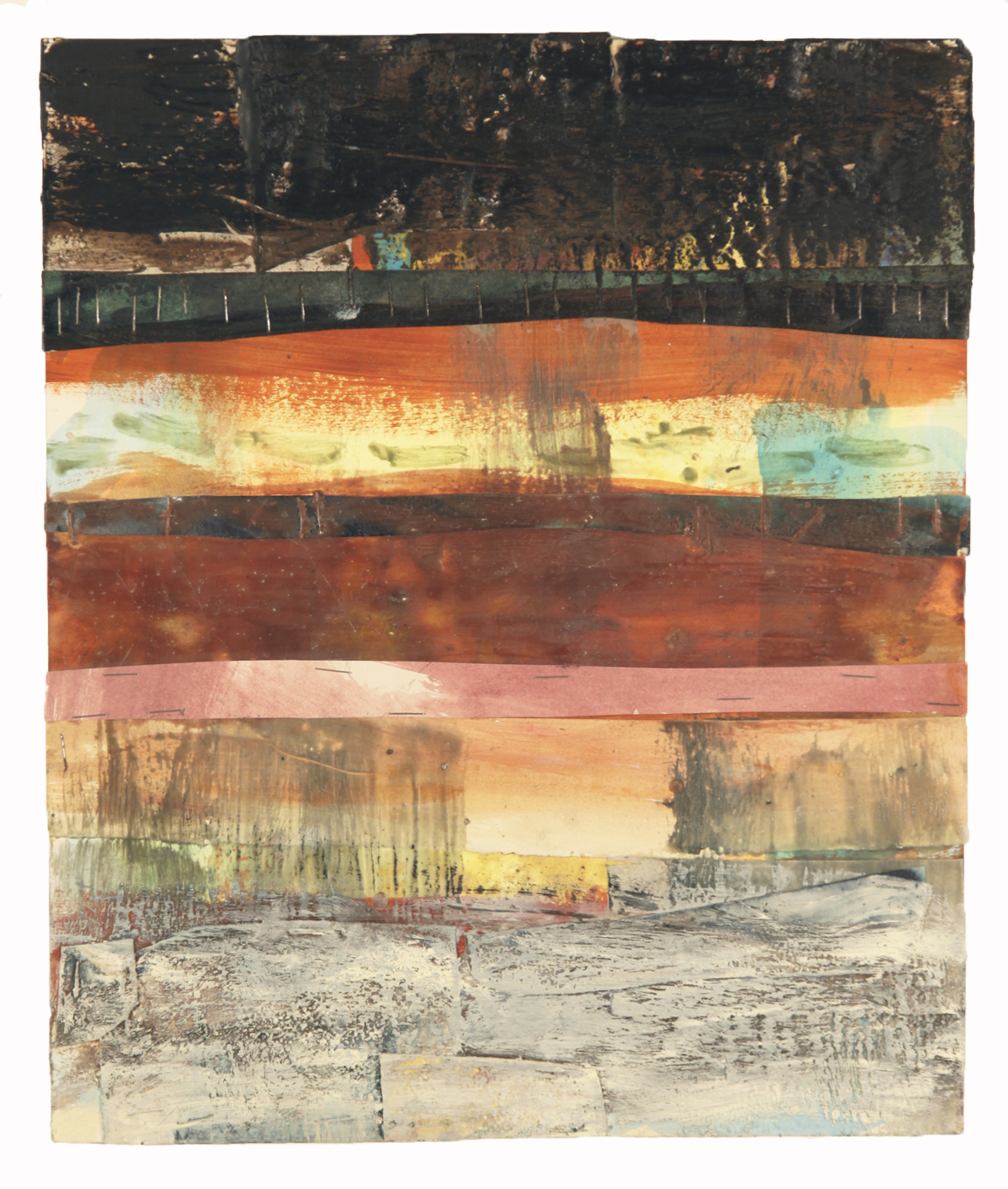 CINEMATIC VIEW, 2015  Ecaustics and mixed media on paper  15 x 12 1/2 inches