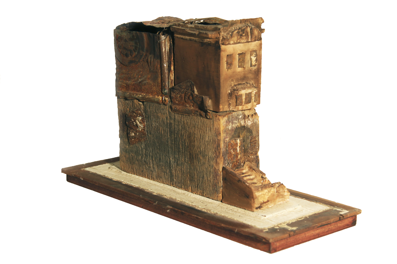 BROWNSTONE III, 2009  Wood, tin, plaster, paint  10 1/4 x 7 x 17 1/4 inches