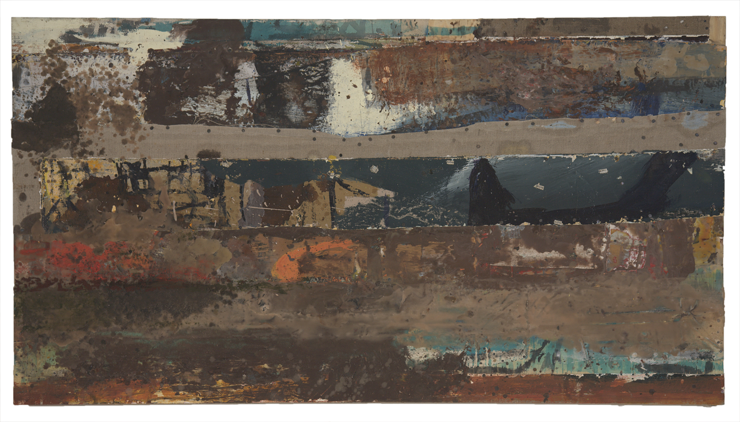 FRAGILE WORLD, 2008  Encaustics and mixed media on panel  24 1/2 x 45 inches