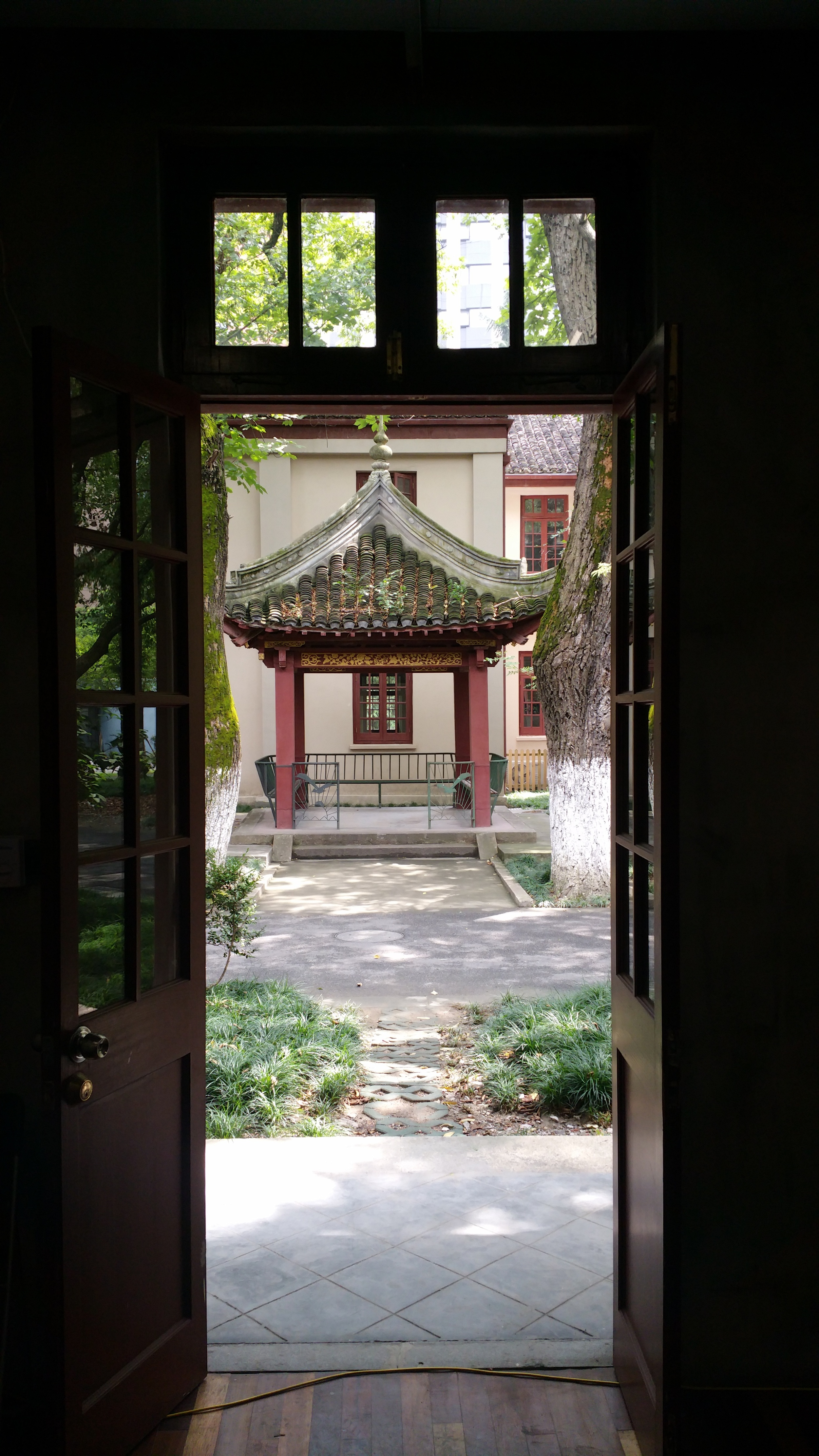 This is the view from outside the lab's door - we have every intention of using our Vive dev kit in the pagoda.