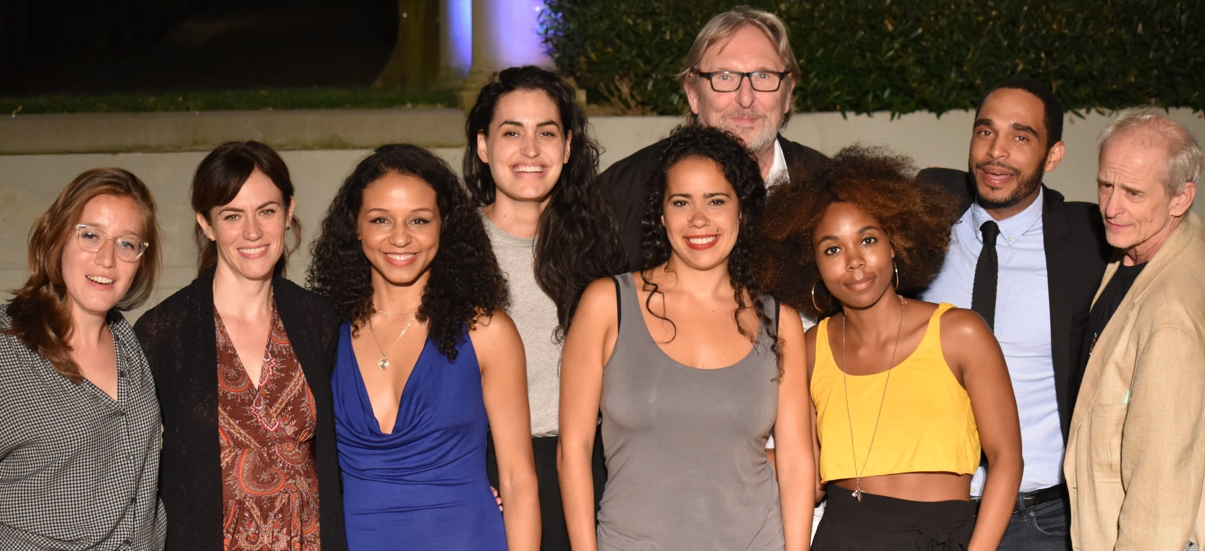 From L to R: Caroline Englander, Maggie Siff, Carra Patterson, Rosa Gilmore, Keren Lugo, Mark Wing-Davey (head of NYU Grad Acting), Naomi Lorrain, Ruffin Prentiss III and Jim Calder (director). Photo Credit: Devin Shacket.