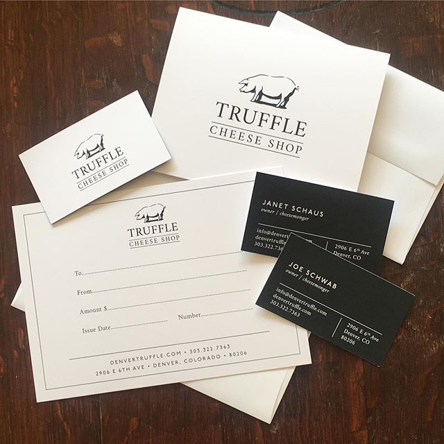A little bit of rebranding...the pig was a keeper! Design by @roxieferguson and printing by @yellowdogdenver  #denvertruffle #cheeseshop #pig #cheese #trufflecheeseshop #yellowdogprinting #shoplocal #hirelocal #rebranding #cherrycreekdenver #shopson6th #denver #denvercheese #denverbusiness #womanowned