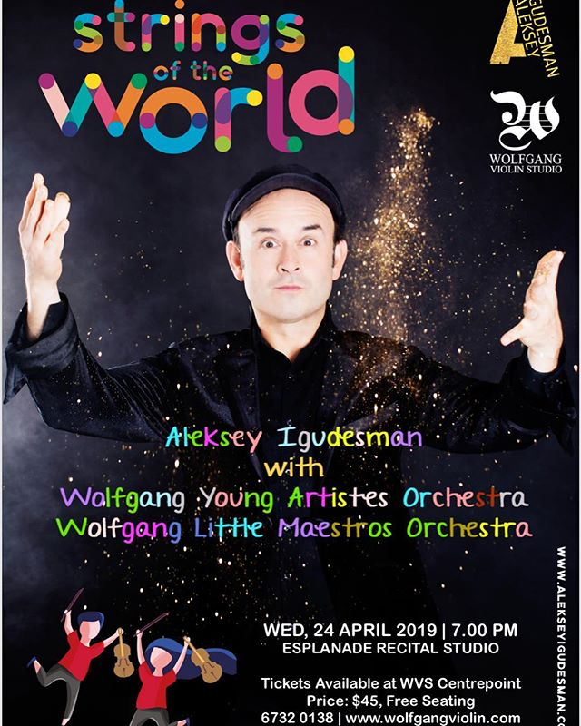 The Wolfgang Young Artistes Orchestra and the Wolfgang Little Maestros Orchestra will share the stage with @Igudesman of the popular  Igudesman& Ju!  Belt up for this 60 minute musical adventure that spans countries from Scotland to Mexico and beyond!  Venue: Esplanade Recital Studio Date: Weds April 24th 2019 Time: 700pm  Tickets available at Wolfgang Violin Studio Centrepoint $45 per ticket.  Free seating.  Please call 67320138 or email enquiry@wolfgangviolin.com for more info