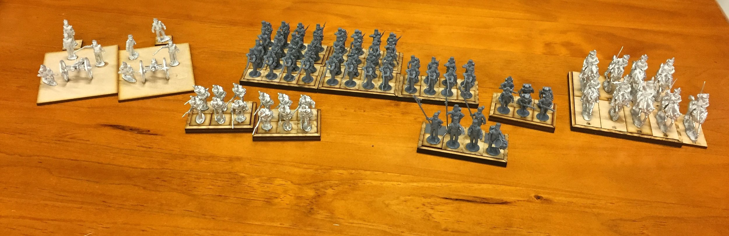 Giles' Perry Miniatures British force Cannon, metal skirmishers, plastic line, officers and rifles, and metal cavalry.