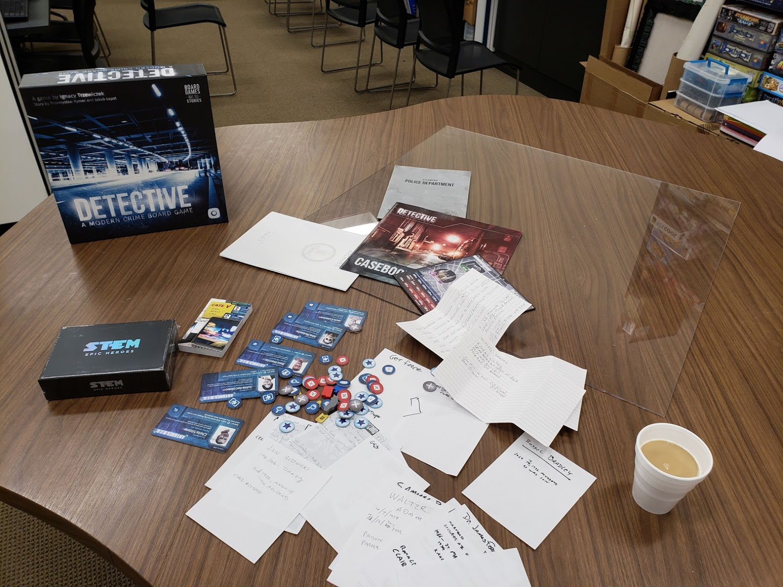 The Detective game, with obligatory cup of coffee. And another bonus game that slipped in when nobody was looking.