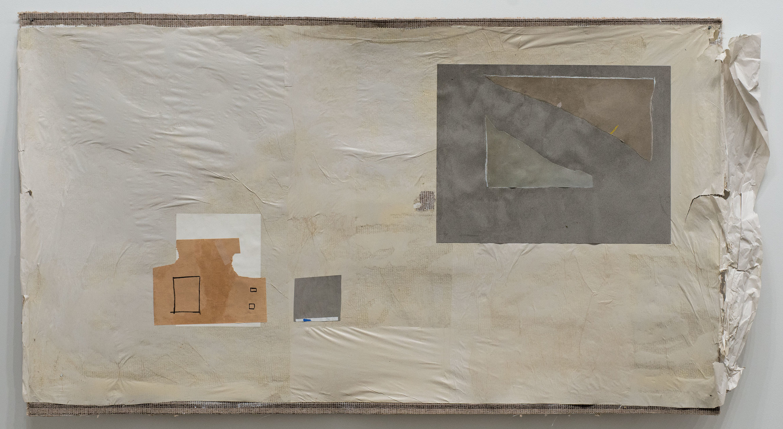"""Idiotic and Profound: The Triangles     paper and charcoal on carpet    42"""" x 74"""""""