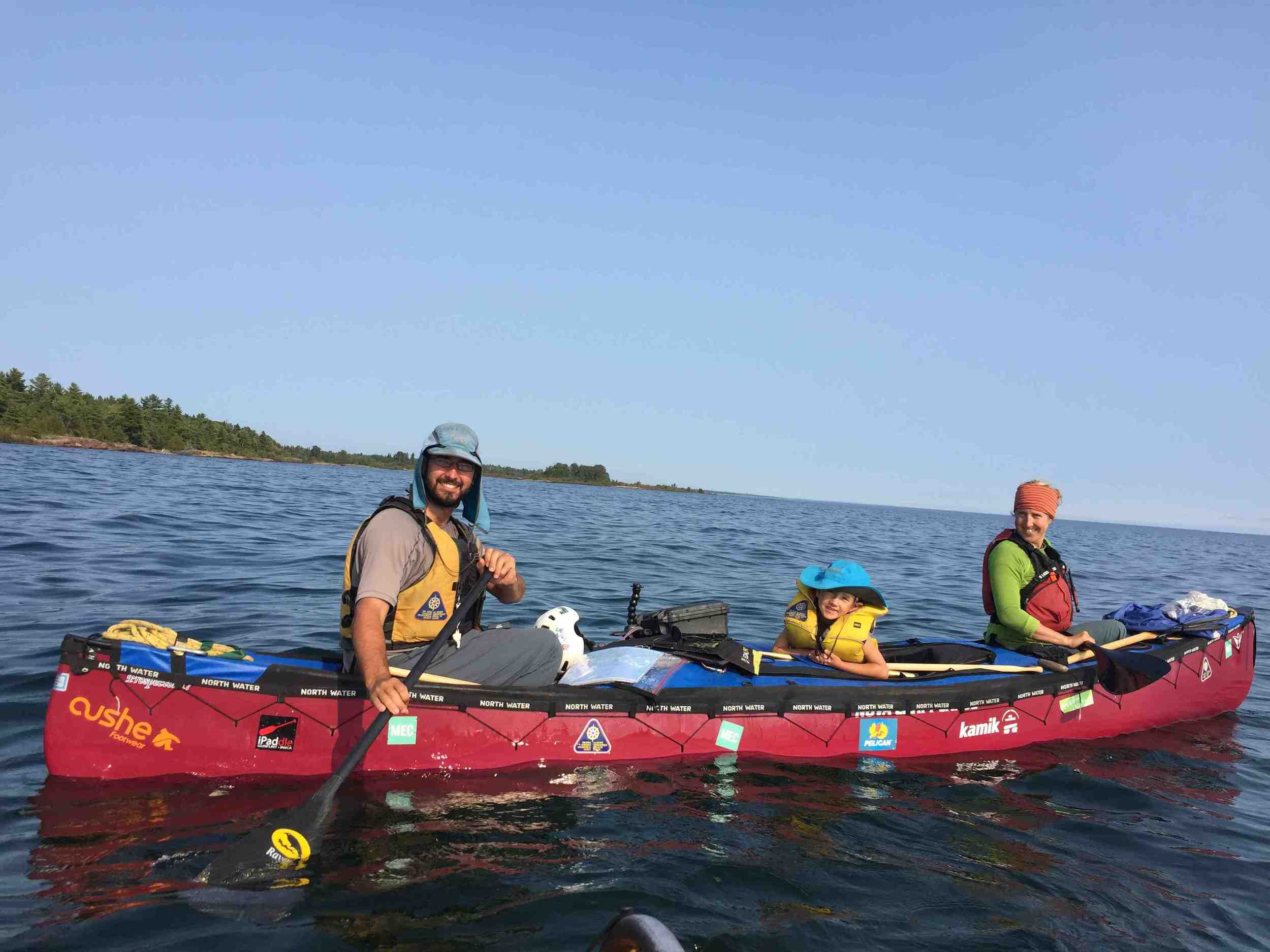 This family was paddling home to Montreal from Edmonton.  paddlinghome .weebly.com
