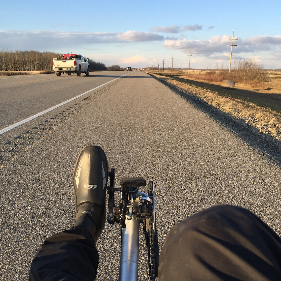 This was a luxurious shoulder, far from the norm on the Yellowhead cycling route.