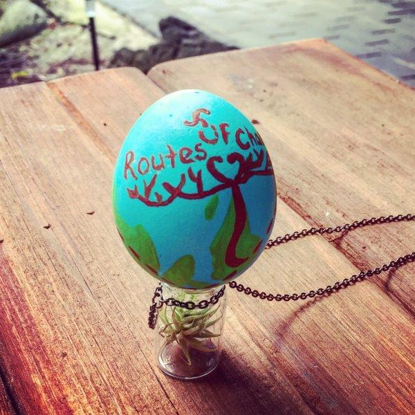 My kayaking partner from Vancouver to the Island made this eggcellent piece of art. Then she threw it at an oil pipeline! Perfect...but not true. I hope she ate it with some veggies.