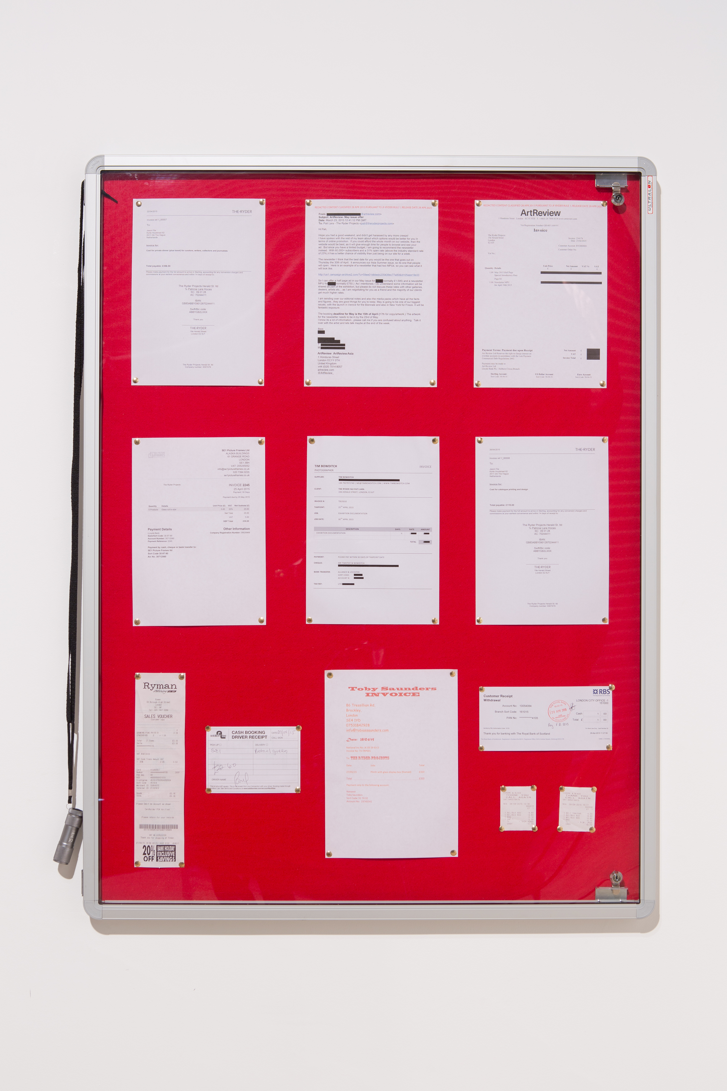 Jason File,   An  Ornament  and a Safeguard  , 2015 (Panel 1 of 4): Documents, display case, torch on thread