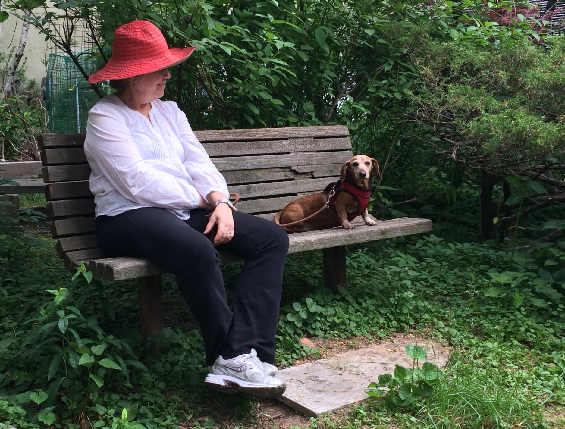 Two longterm members enjoying the garden