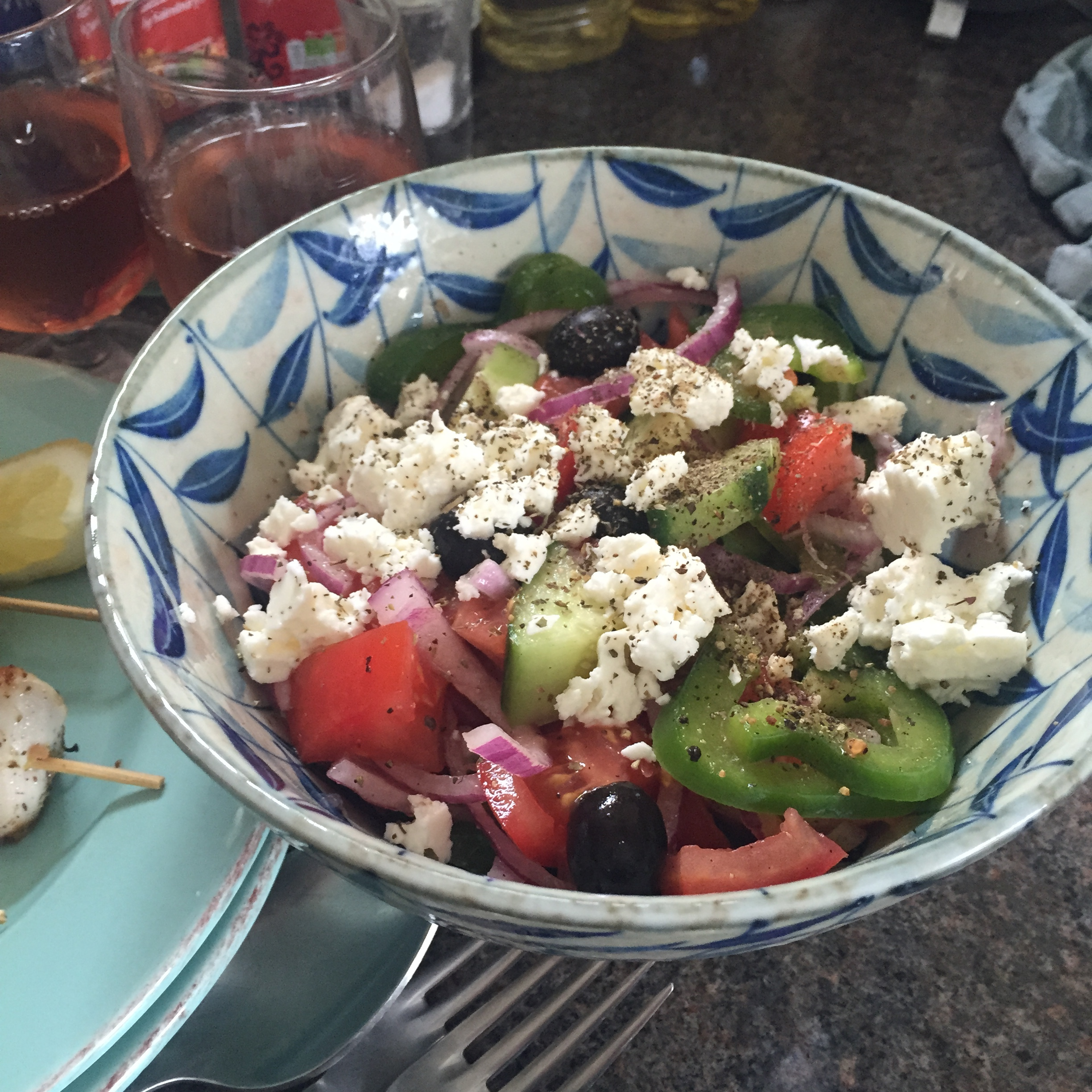 Rachel Redlaw The Tiniest Thai diet souvlaki + greek salad