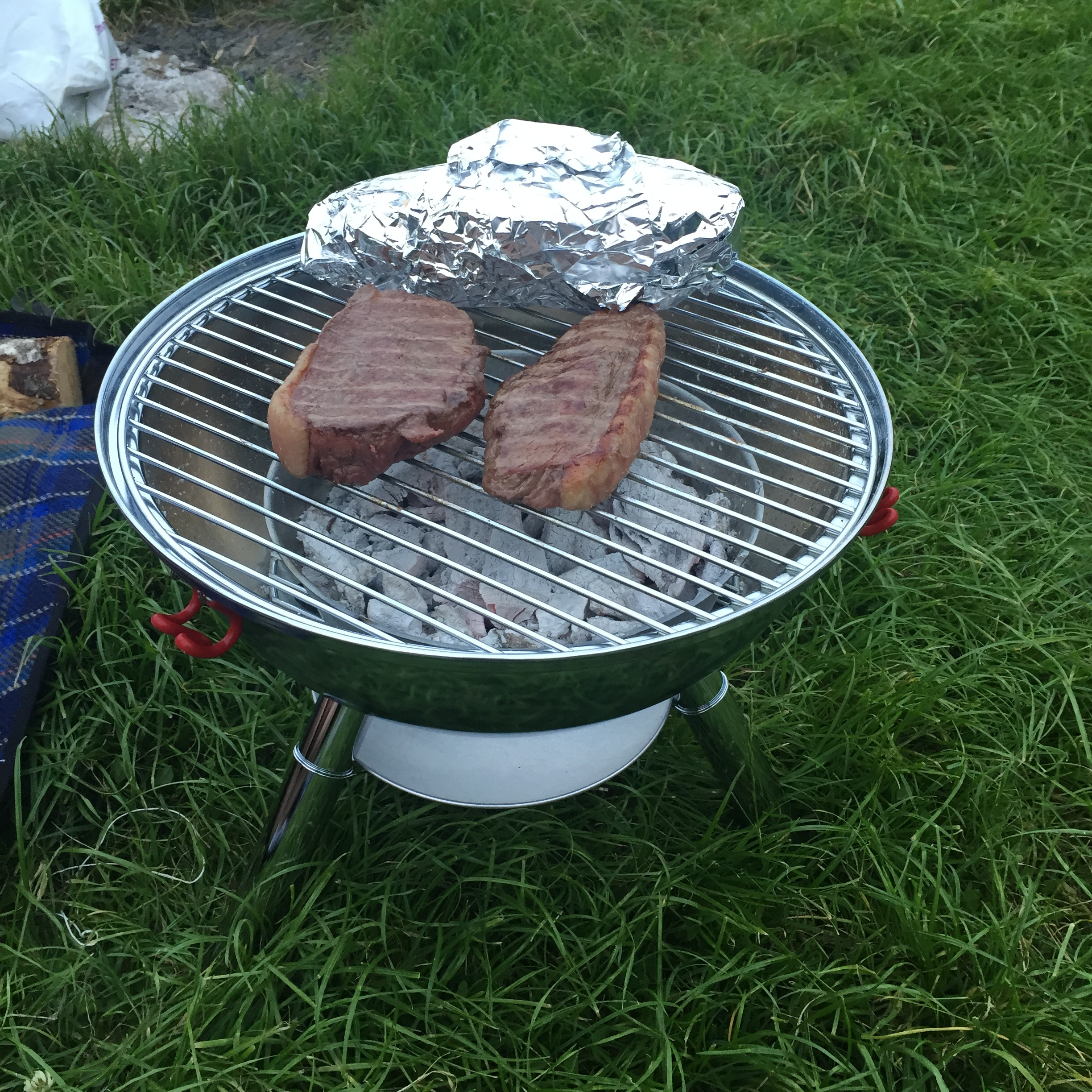 Rachel Redlaw camping steak barbecue