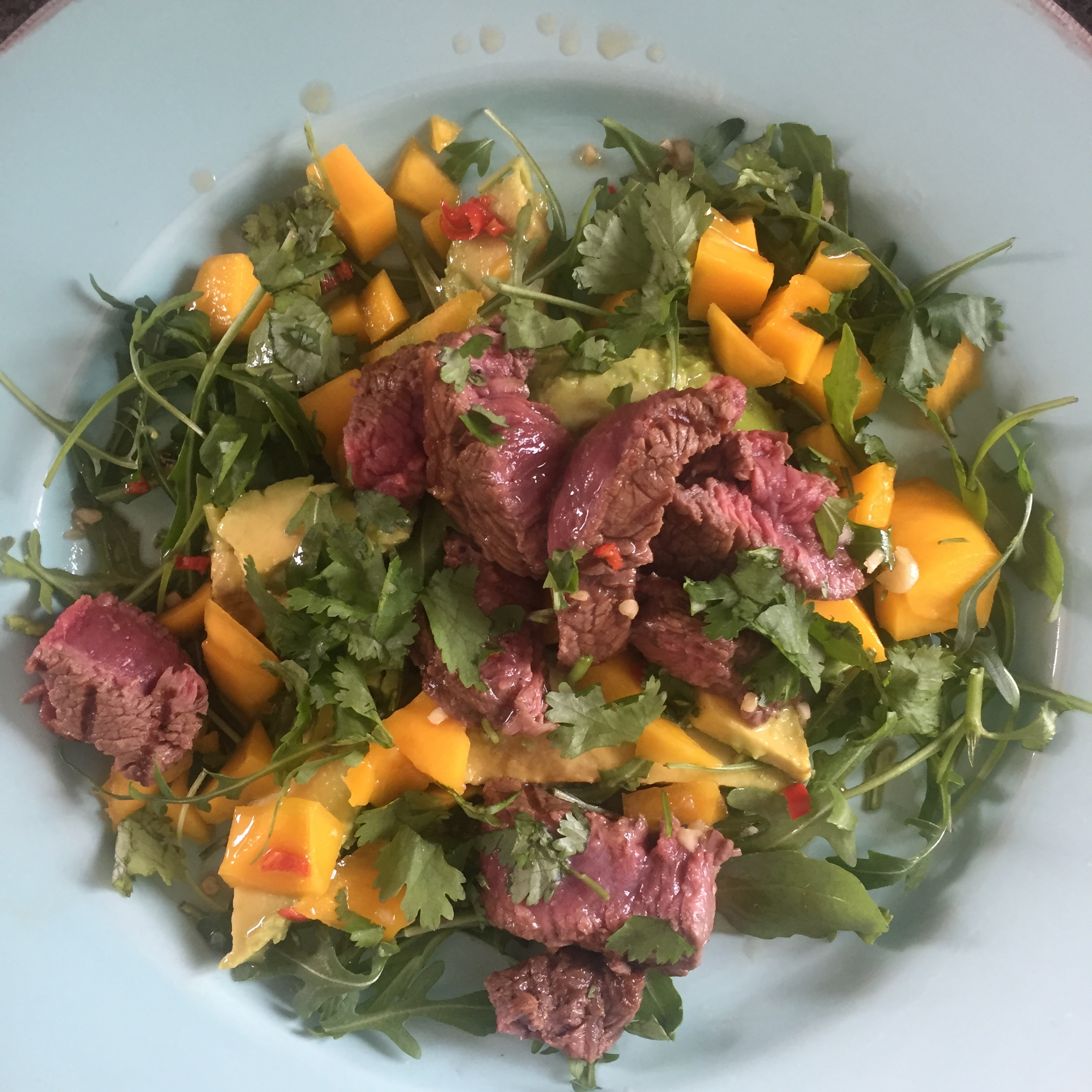 Rachel Redlaw steak mango avocado salad