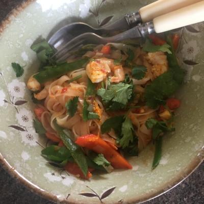 Rachel Redlaw Thai prawns and ginger noodles