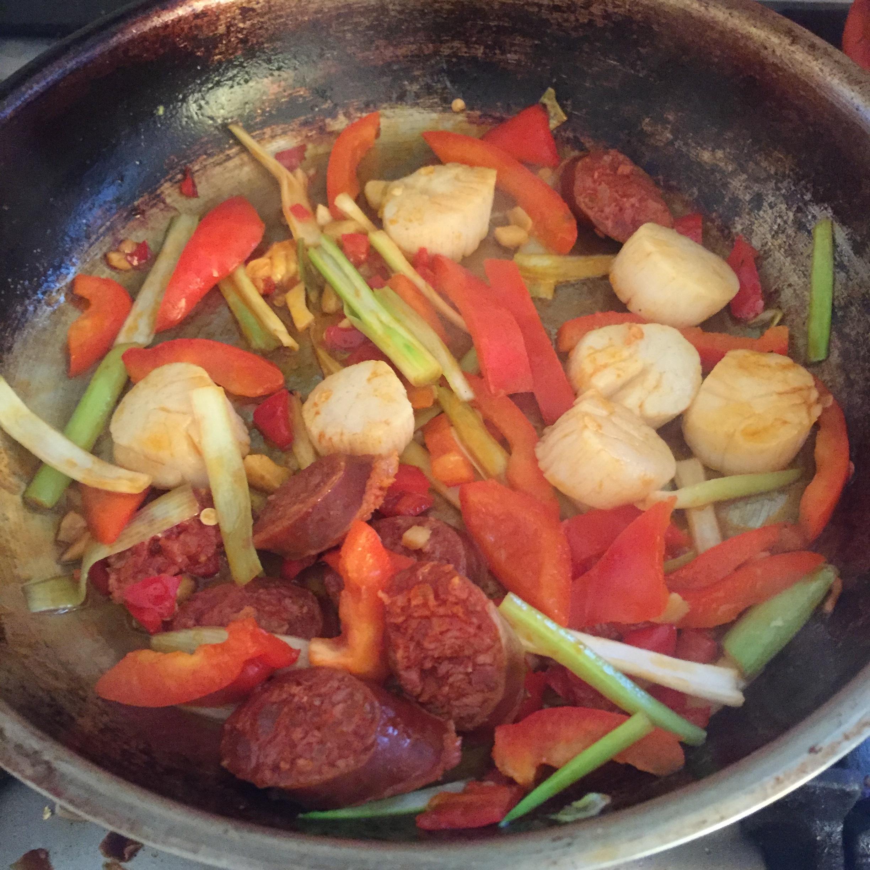 Rachel Redlaw scallops and chorizo