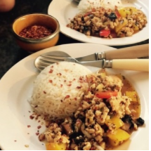 chicken stir fry w/ chilli paste + thai basil