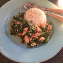 stir fried chicken + brocolli w/ oyster sauce + sesame seeds