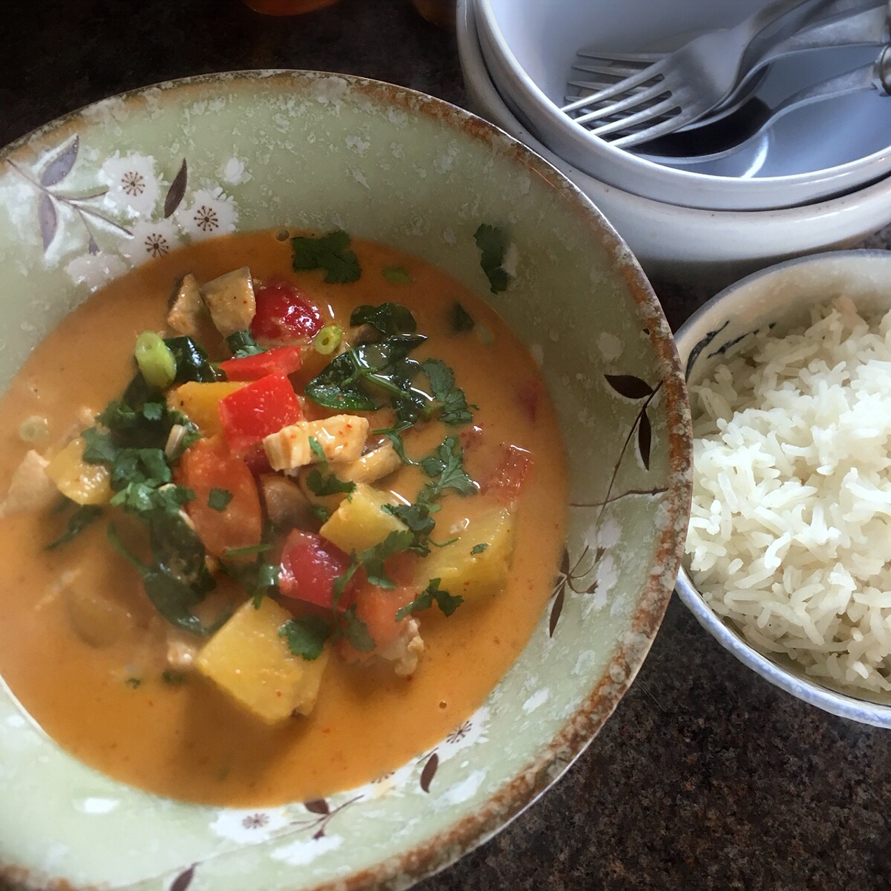 Rachel Redlaw mango + pineapple red Thai curry
