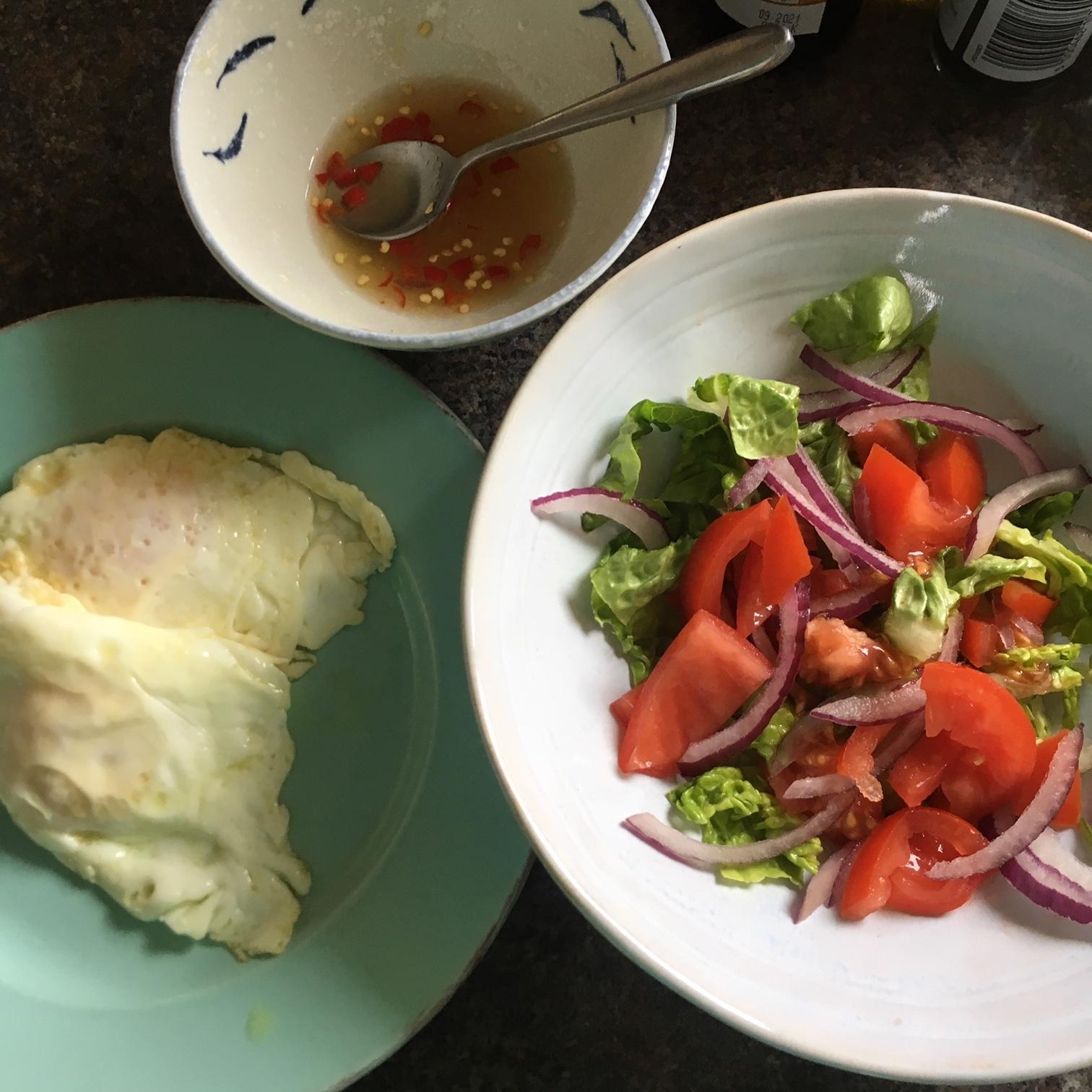 Rachel Redlaw fried egg spicy salad