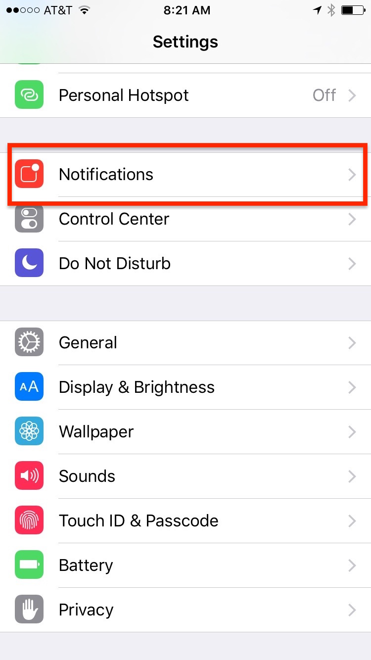 Go to Settings and Choose Notifications
