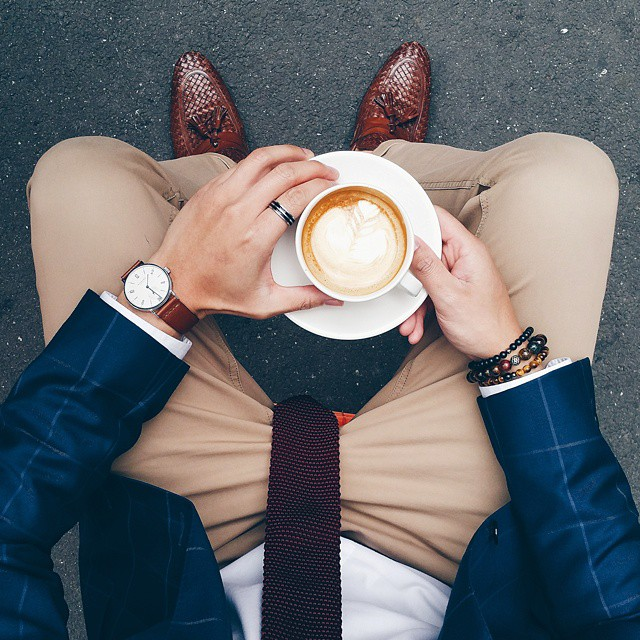 "You can never be too overdressed for coffee . ""Dress Well. Drink Well. Live Well."" . TAG a friend who dresses well & ♡'s coffee ."
