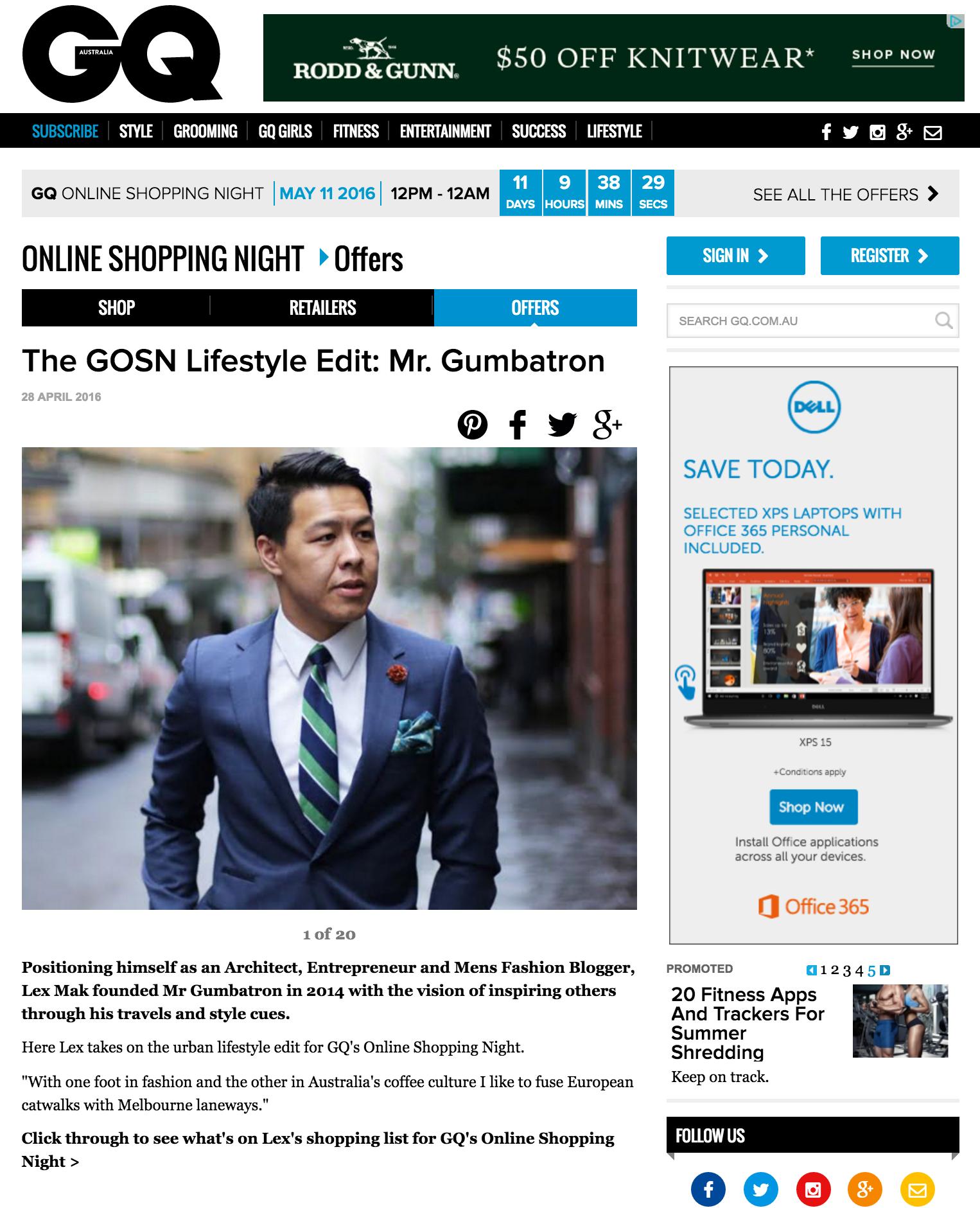 Mr. Gumbatron contributes to the Lifestyle Edit for GQ Australia.