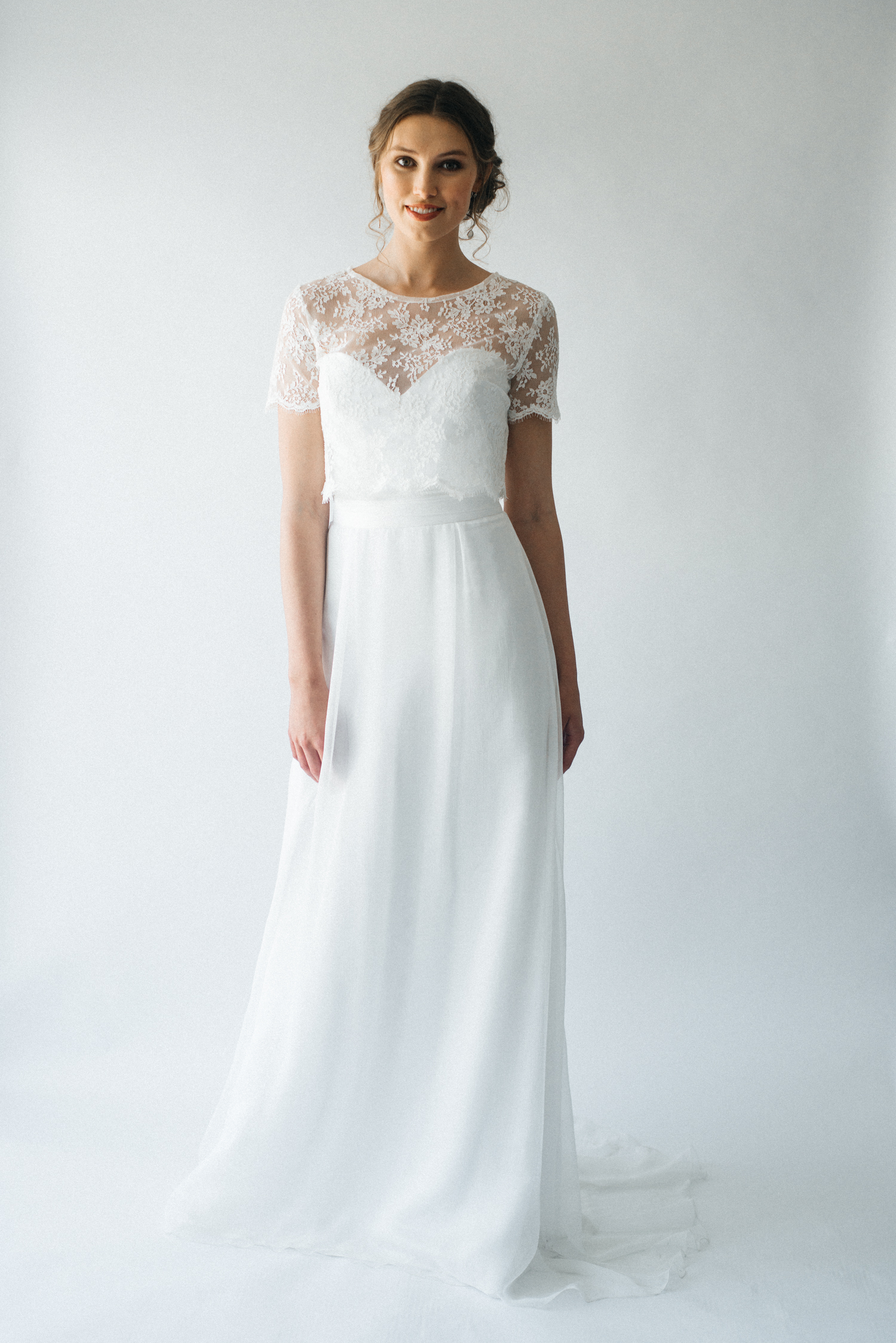 Lace Short Sleeve Bridal Top