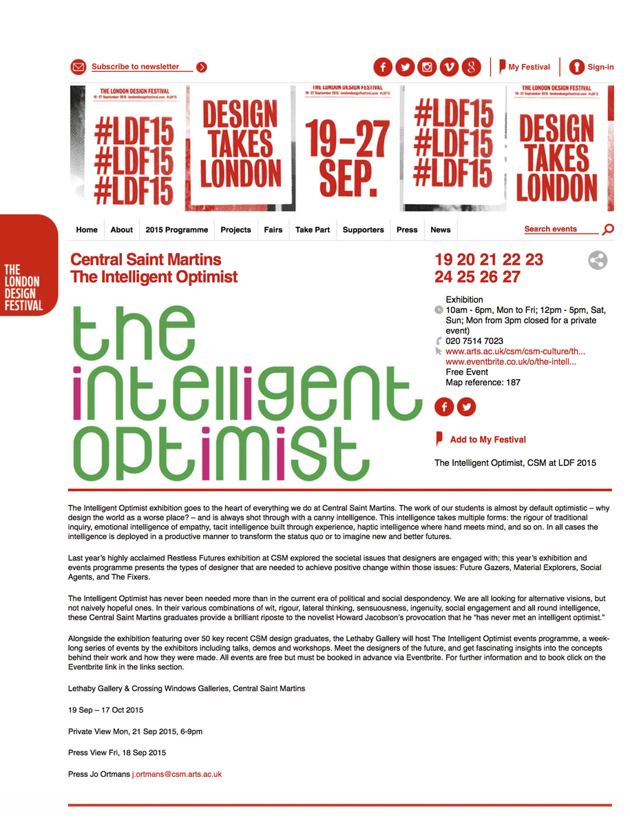 London Design Festival 2015 | Exhibiting the Intelligent Optimist