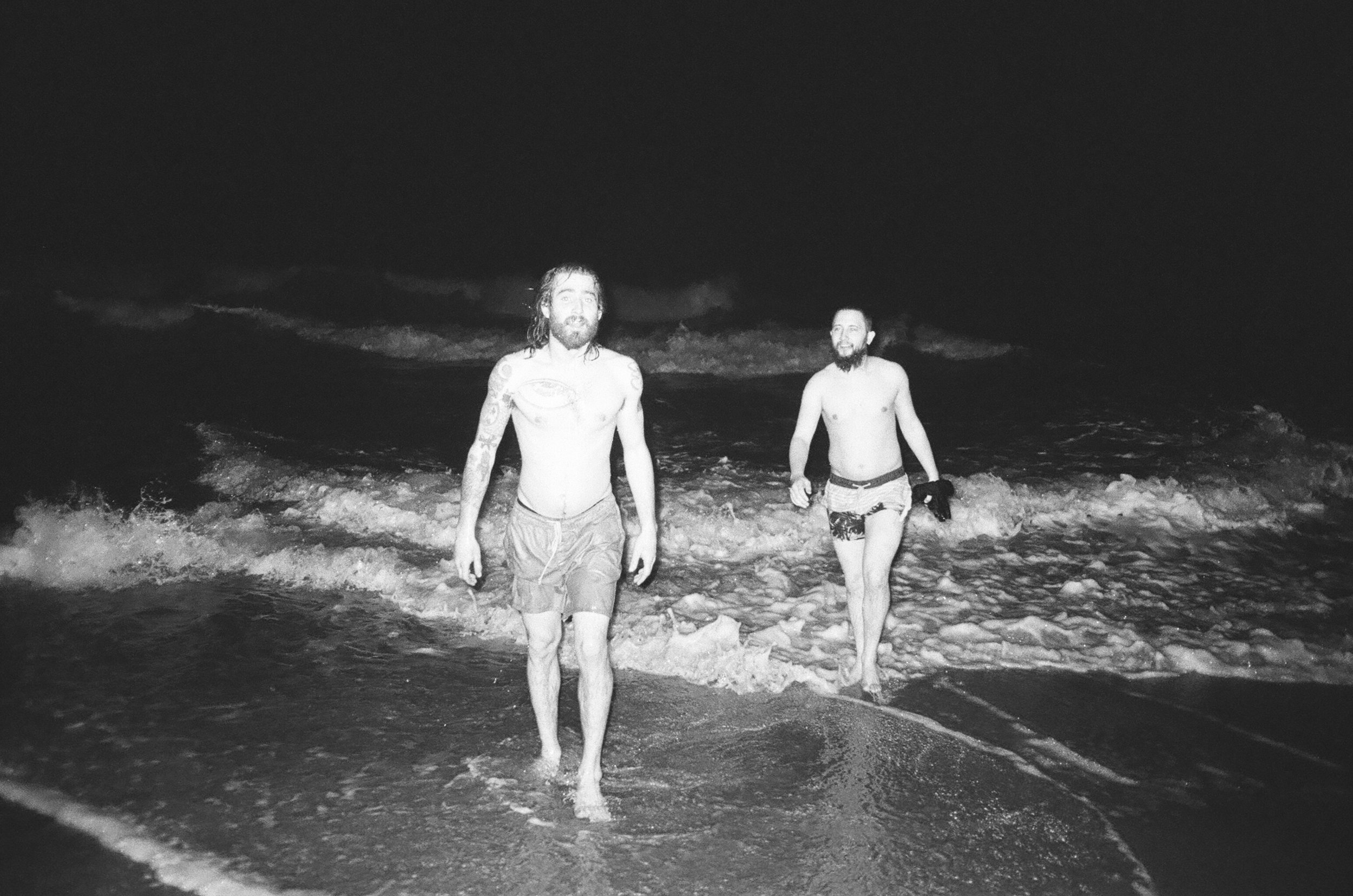 The Steve's during a moonlit swim session.